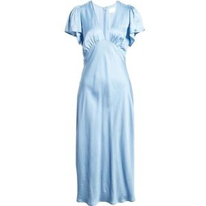 🔥Light Blue Silk-Satin Gown/Maxi Dress